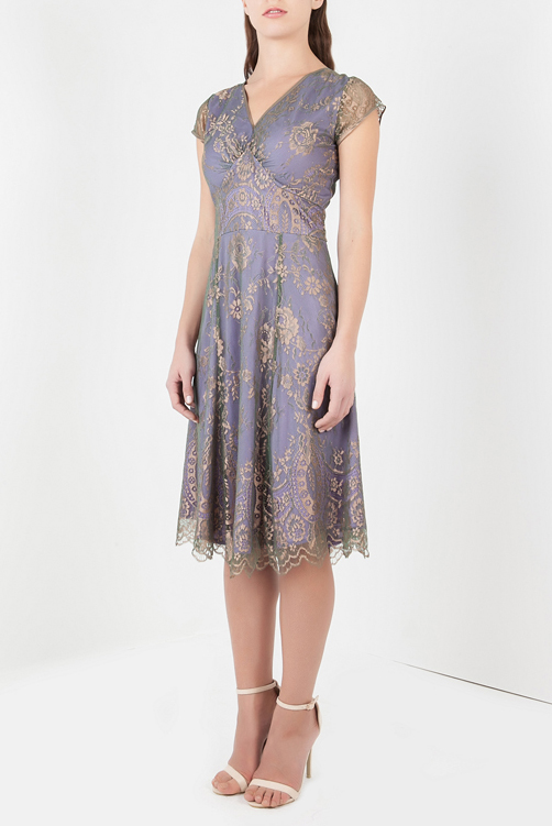 Petite Kristen Dress in Bronze and Violet Lace by Nancy Mac - Bomb .
