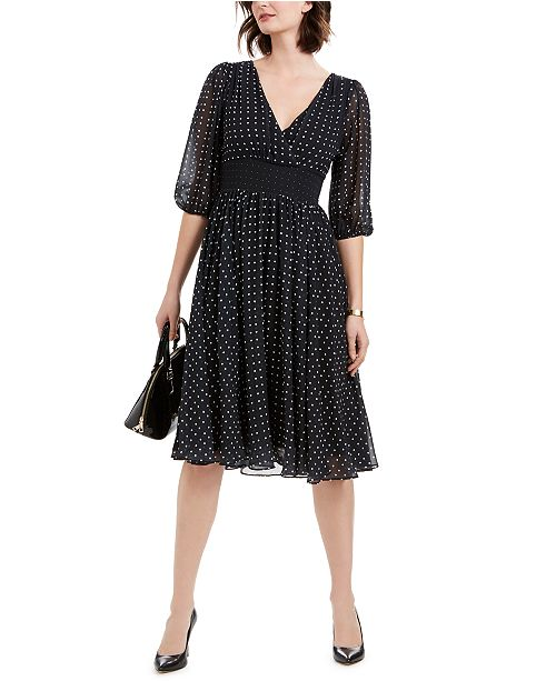 NY Collection Petite Dot-Print Balloon-Sleeve Dress & Reviews .