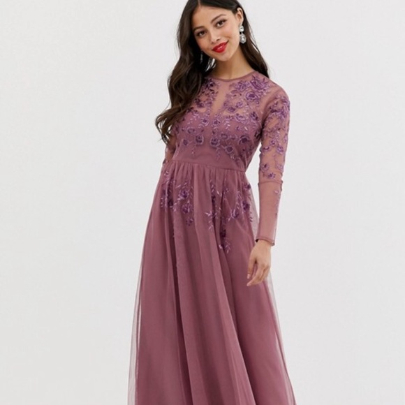 ASOS Petite Dresses | Petite Long Sleeve Maxi Dress In Embroidered .