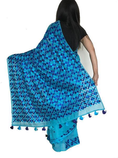 Hand Embroidered Blue Phulkari Saree – Just Phulka