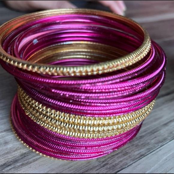 Jewelry | Golden Pink Bangles | Poshma