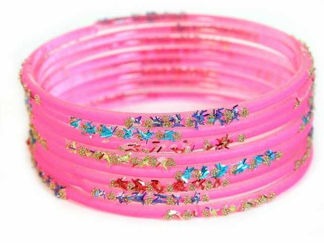 Hot Pink Indian glass bangles 2.