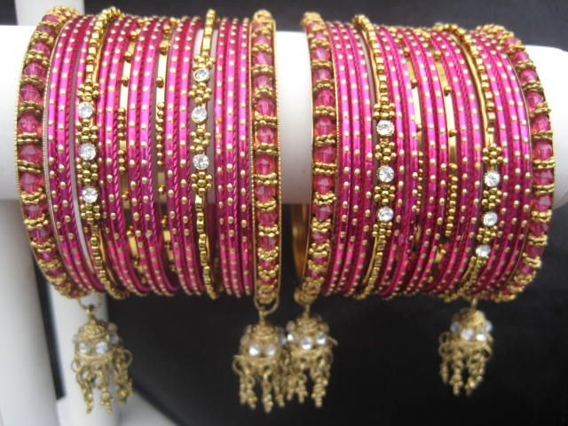 Orion: Dark Pink Bangles (2.4/2.6) (With images) | Bridal jewelry .