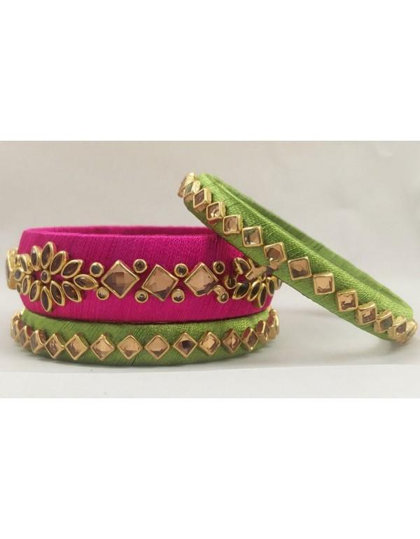 Pink and Green Resham Thread Bangl