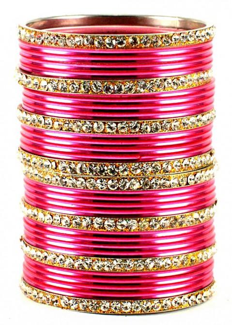 Stone Studded Pink and Golden Bangle Set Jewelry 101BG