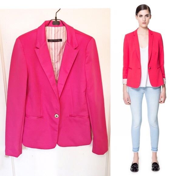 Zara Jackets & Coats | Hot Pink Blazer | Poshma