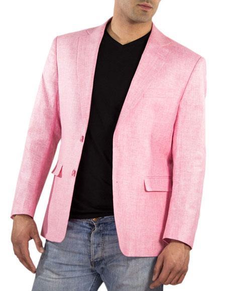 Men's One Ticket Pocket Thread & Stitch 100% Linen Pink Blaz