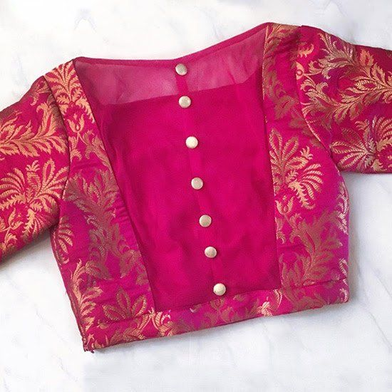 49. Pink Blouse In Banaras And Silk (With images) | Blouse designs .