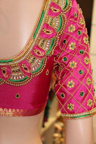 Silk Aari Designer Pink Bridal Blouse, Rs 8800 /piece STHRI | ID .