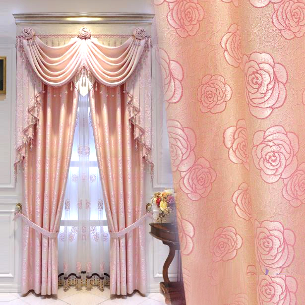 Elegant Curtains Pink Rose Pattern Embroidered Polyester (No Valanc