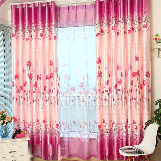 Bedroom Print Polyester Clover Hot Pink Curtai