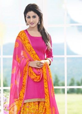 Fantastic Pink & Yellow Coloured Unstitched Patiala Suit | Salwar .