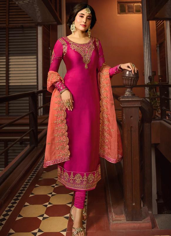 Pink Satin Salwar Suit | Pink Satin Pakistani Salwar Kameez .