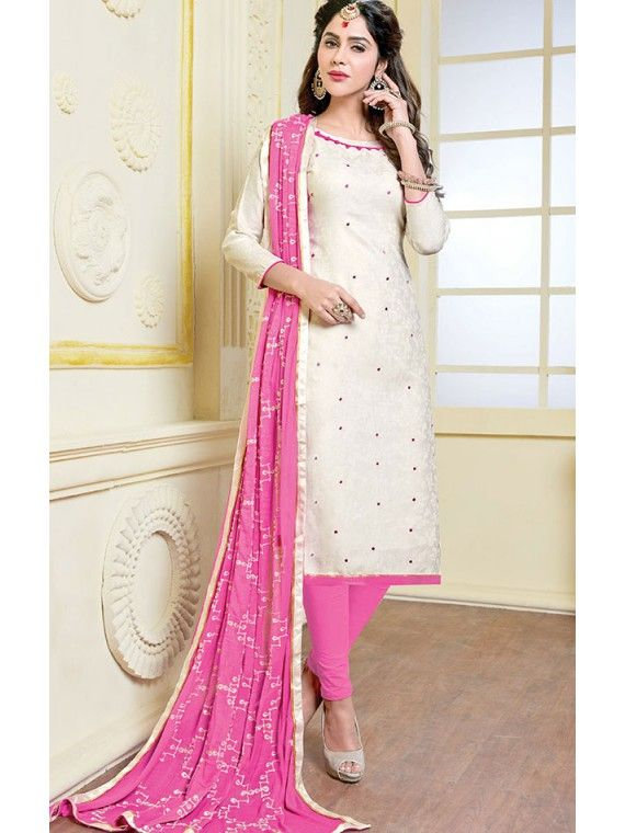 Stupendous Off White and Pink Salwar suit (With images) | Blouse .