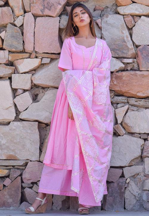 Block Printed Cotton Pakistani Suit in Baby Pink : KGPD