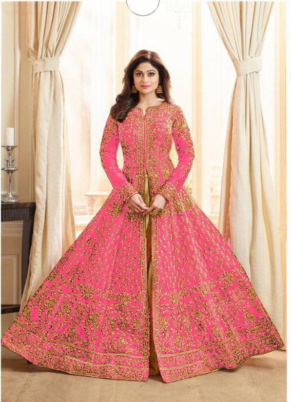 Shamita Shetty Pink Anarkali Silk Embroidered Wedding Wear Salwar Su