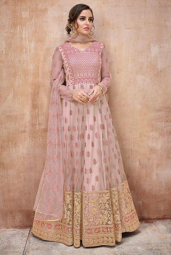 Buy Pretty Designer Baby Pink Salwar Kameez With Stone Wo