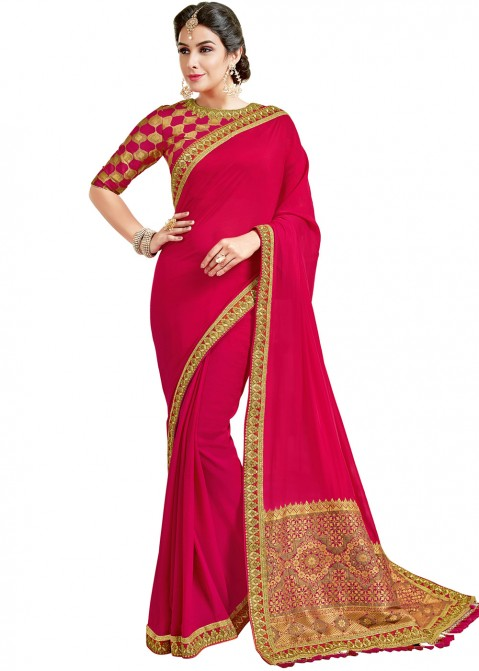 Dark Pink Saree With Embroidered Blouse 1889SR