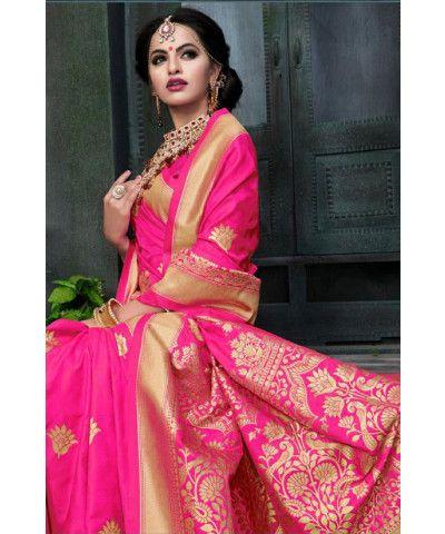 Rani Pink Banarasi Saree (With images) | Indian bridal sarees .