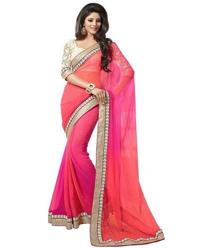 Georgette Plain Designer Pink Sarees, Rs 300 /piece Brisk Exim .