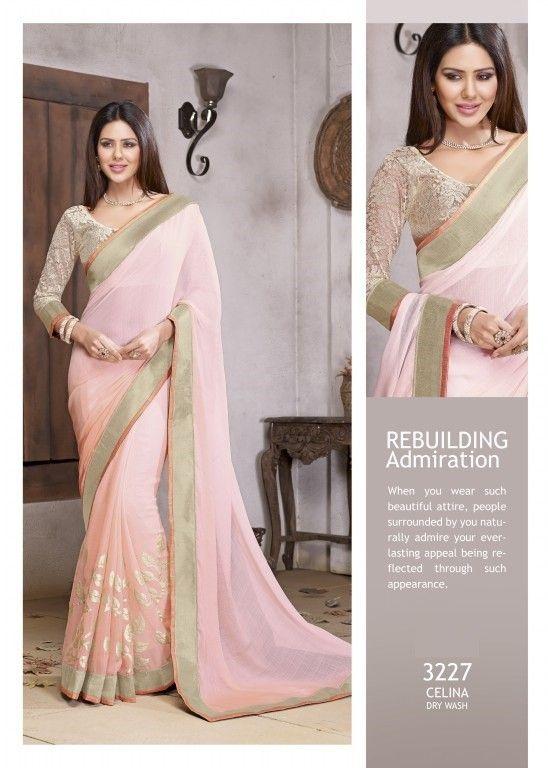 Classy Light Pink Saree (With images) | Saree designs, Chiffon .