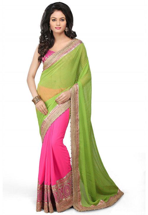 Half N Half Georgette Saree in Green and Pink : SJN60