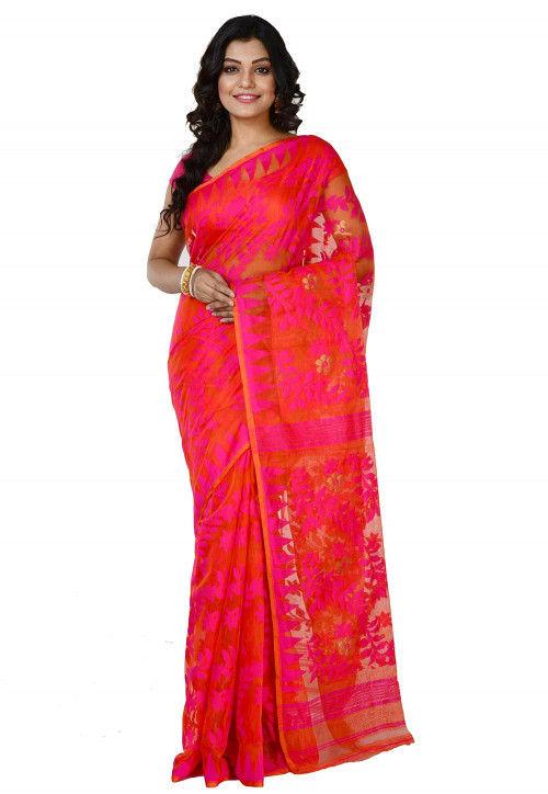 Jamdani Cotton Silk Handloom Saree in Orange and Pink : SCXA8