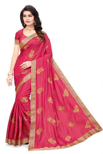 Self Design Pure Silk Pink Saree with Blouse Piece, Rs 750 /piece .