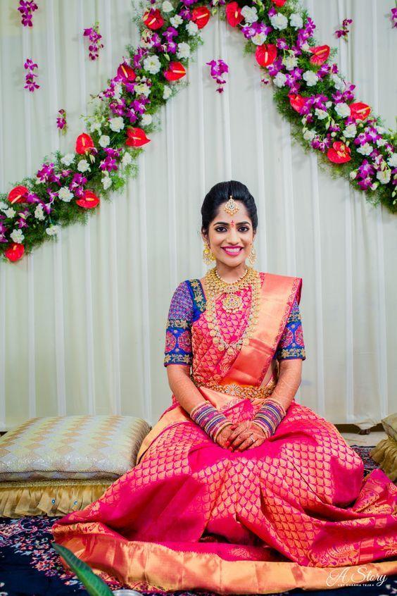 Pink Saree with Royal Blue Blouse | Indian bridal, Wedding blouse .