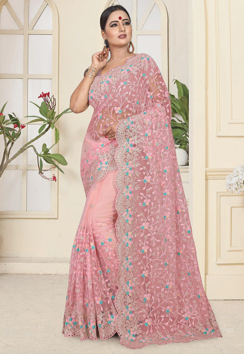 Embroidered Net Saree in Baby Pink : SCBA4