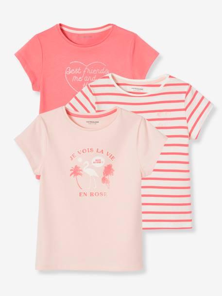 Pack of 3 Short-Sleeved T-Shirts, for Girls - pink medium striped, Gir