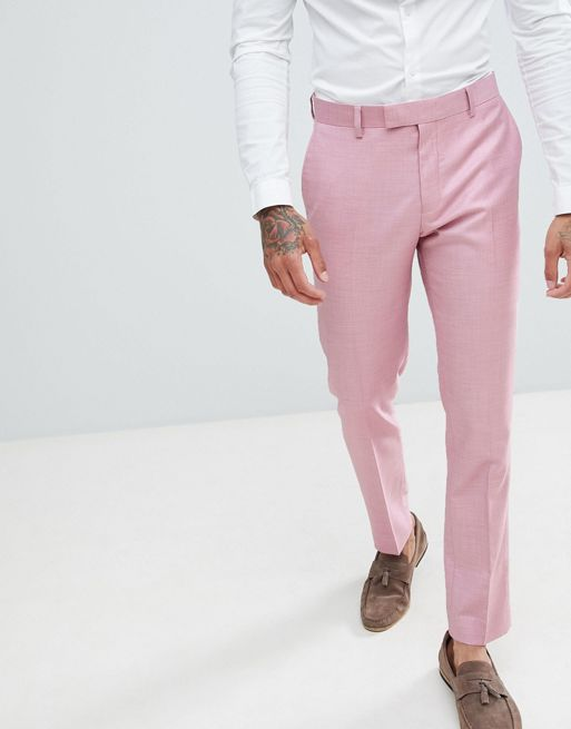 River Island skinny fit wedding suit trousers in pink Men [1288860 .