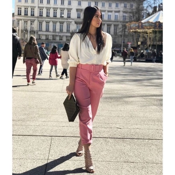 Zara Pants & Jumpsuits | Pink Belted Trousers | Poshma