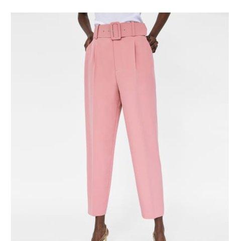 ZARA belted pink trousers Cigarette pants Worn... - Dep