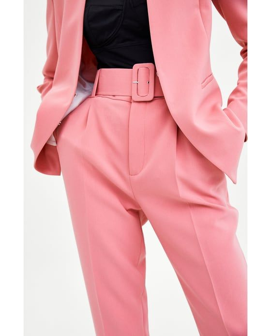 Image 2 of TROUSERS WITH BELT from Zara | Ideias fashion, Ternos .