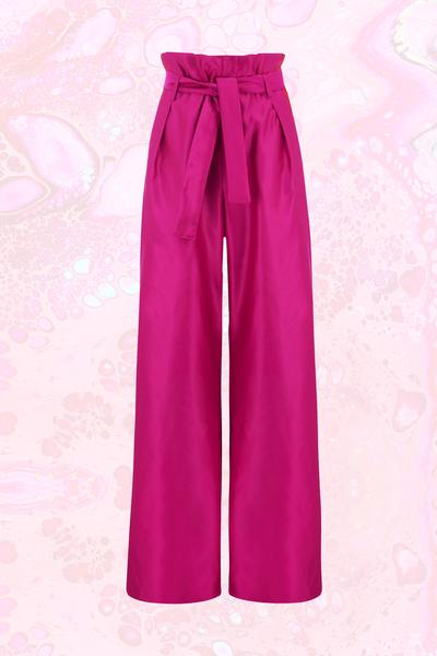 Körpermitose Pink Wide Leg Paperbag Trousers – L.O