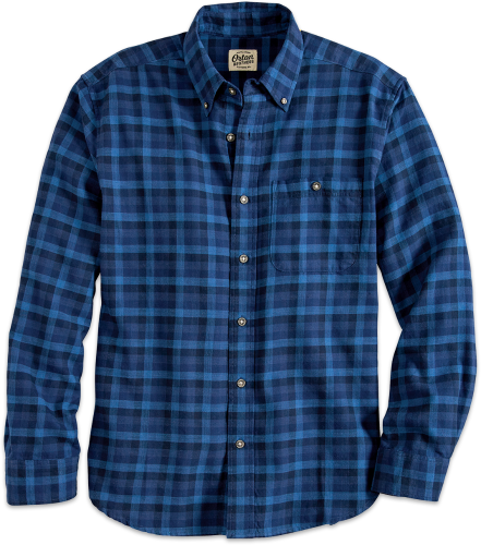 Men's Washed Cotton Indigo Plaid Shirt | Orton Brothe