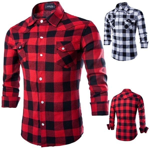 Plaid Shirt Men/Women Long Sleeve Red Black Mens Flannel Shirts | Wi