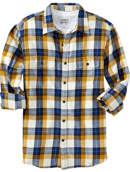 Old Navy Patterned Flannel Shirt in Yellow for Men (blue/yellow .
