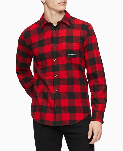 Calvin Klein Jeans Men's Buffalo Plaid Shirt & Reviews - Casual .