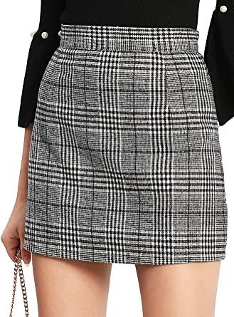 Floerns Women's Plaid High Waist Bodycon Mini Skirt at Amazon .