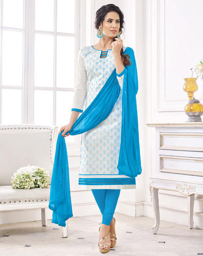 Light Blue Embroidered Ladies Cotton Salwar Suit with Plain .