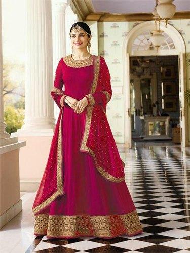 Plain Anarkali Salwar Suit - Plain Pink Anarkali Suit with Heavy .