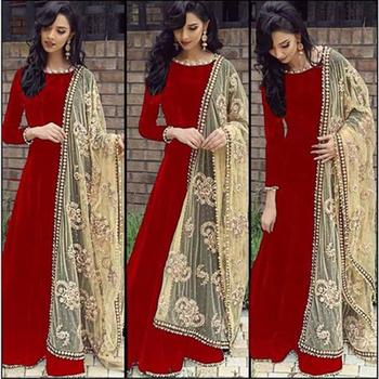 Red plain art silk semi stitched salwar with dupatta - akshar .