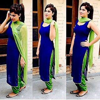 Buy Style Amaze Blue Georgette Plain Salwar Suit Material Dress .