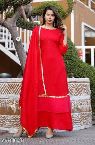 Skirt Salwar Suit - Designer Red Plain Skirt Salwar Suit .