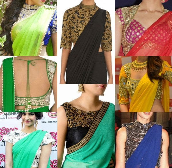 12 Awesome Plain Saree with Designer Blouse Ide