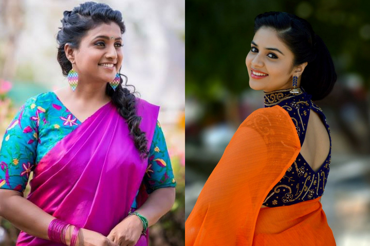 Plain Sarees With Beautiful Contrast Designer Blouses - Try It On