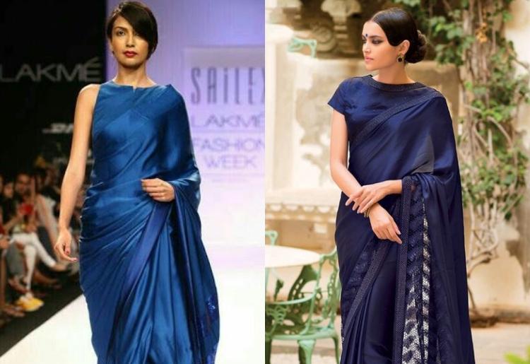 20 Distinctive Stylish Plain Sarees with blouse Desig