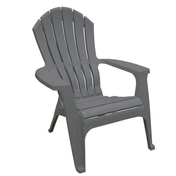 RealComfort Charcoal Resin Plastic Adirondack Chair 8371-13-4300 .